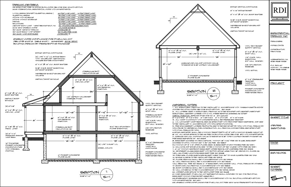Cross Sections Drawings Residential Design Inc