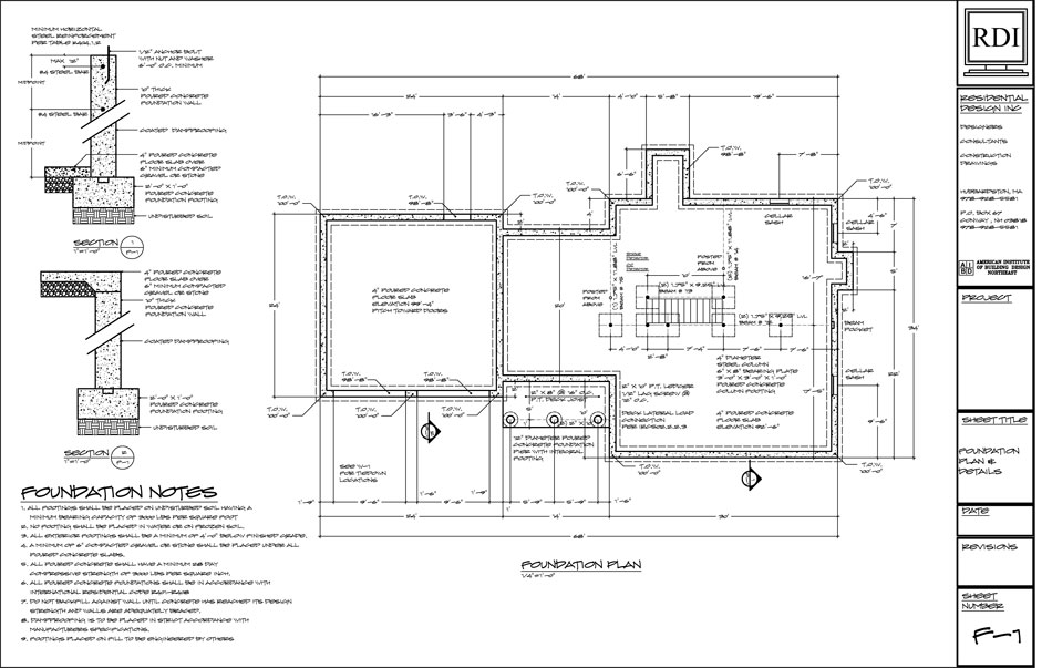 Foundation plans residential design inc for House foundation plan
