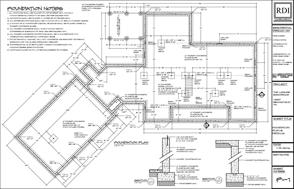 Foundation plans residential design inc for Foundation blueprints